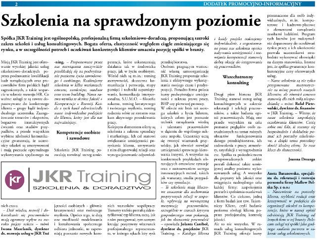 Dziennik Gazeta Prawna o JKRTraining